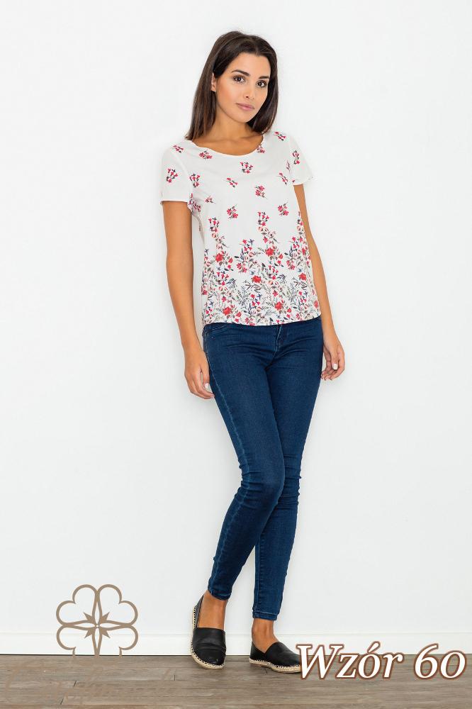 CM2751 Klasyczna bluzka z krótkim rękawem - wzór 60