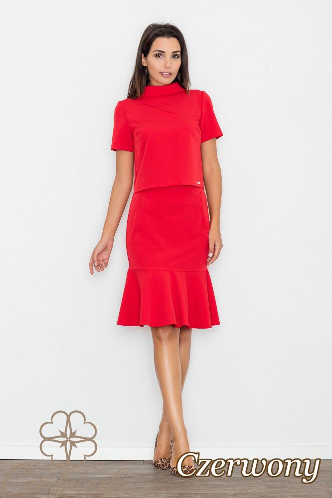 CM2753 Bluzka z krótkim rękawem i stójką - czerwona