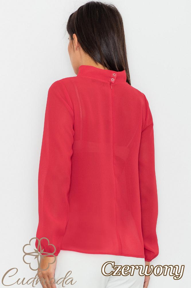 CM2754 Bluzka szyfonowa z długim rękawem - czerwona
