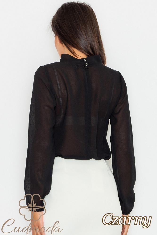 CM2754 Bluzka szyfonowa z długim rękawem - czarna
