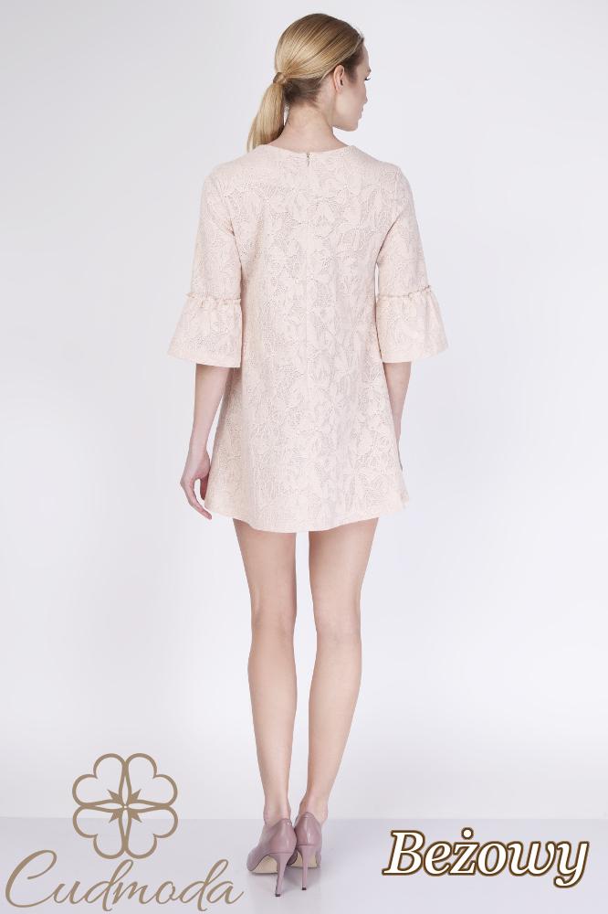 CM2757 Trapezowa sukienka z koronką - beżowa