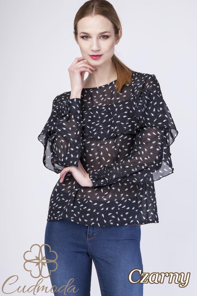 CM2761 Stylowa szyfonowa bluzka - czarna