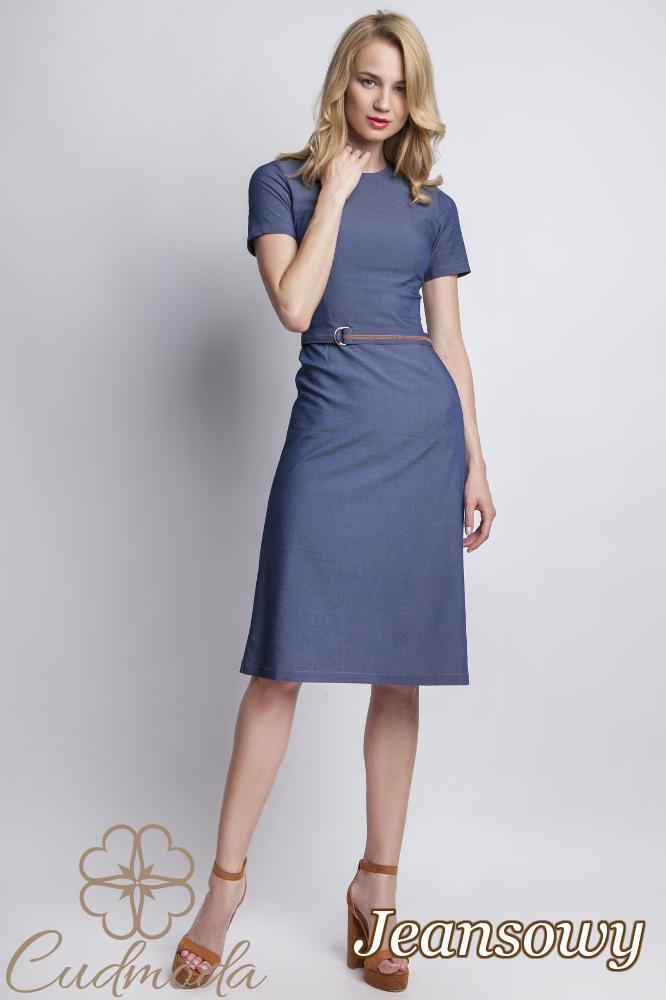 CM2764 Dopasowana sukienka jeansowa z krótkim rękawem