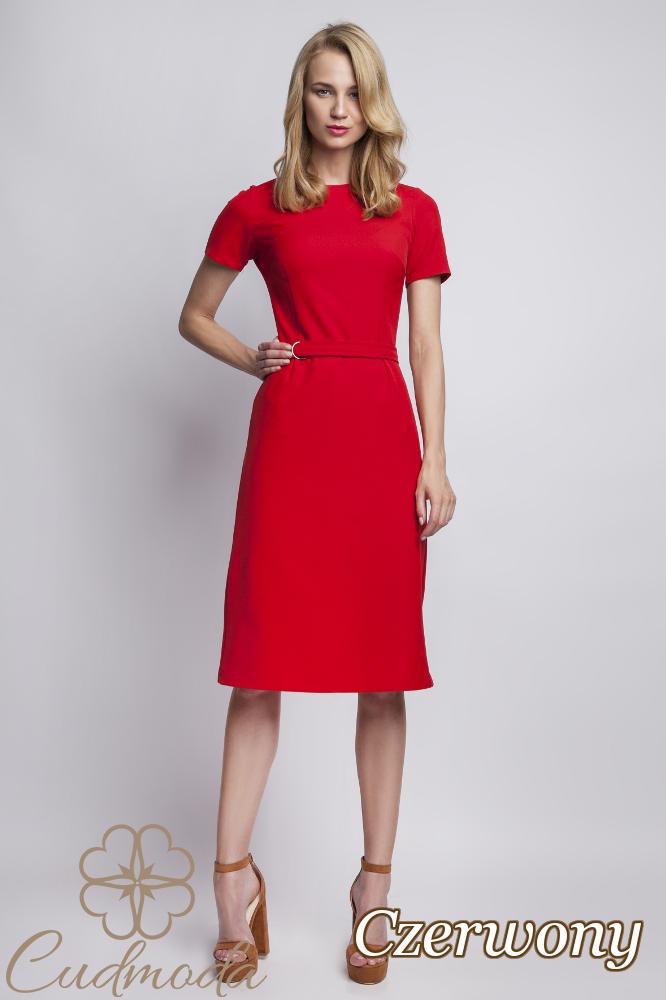CM2765 Kobieca sukienka tulipan - czerwona