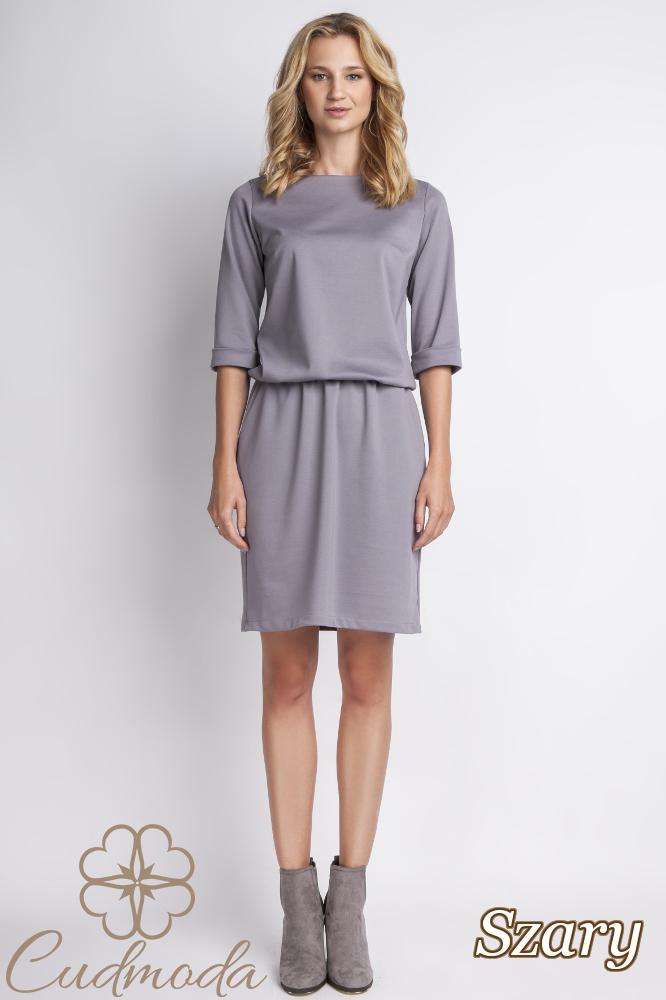 CM2766 Elegancka sukienka mini - szara