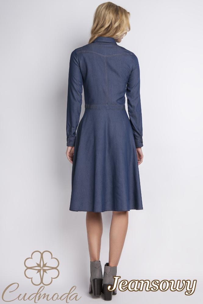 CM2768 Jeansowa sukienka z guzikami i kołnierzykiem