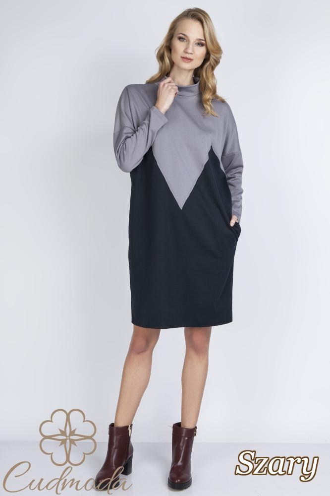 CM2771 Sukienka oversize z łezką na plecach - szara