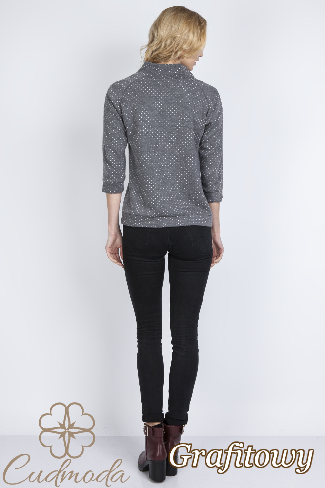 CM2772 Elegancka bluzka z rękawem 3/4 - grafitowa