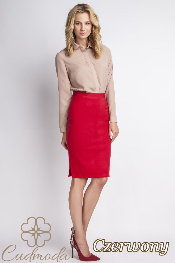 CM2774 Dopasowana spódniczka biurowa do pracy - czerwona
