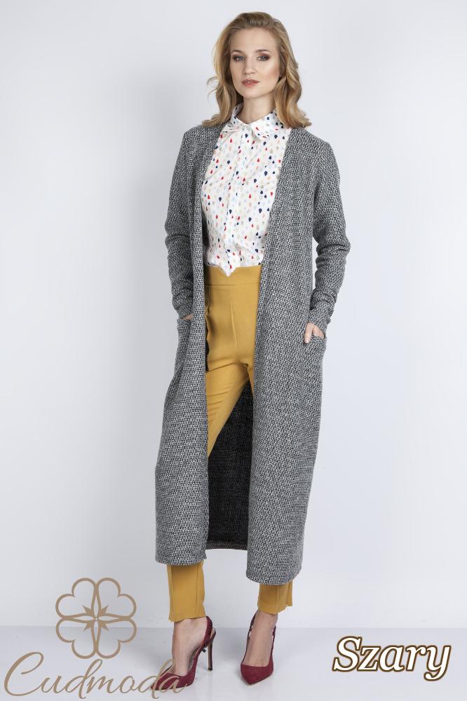 CM2779 Długi stylowy sweter damski - szary