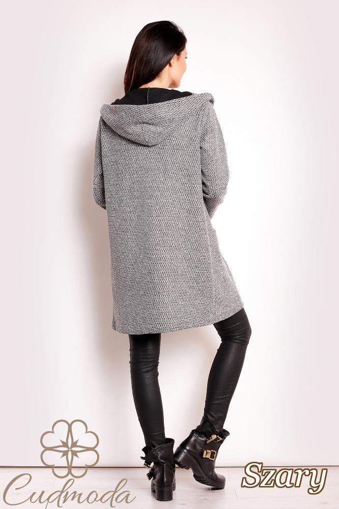 CM2806 Niezapinany płaszcz damski z kapturem - szary