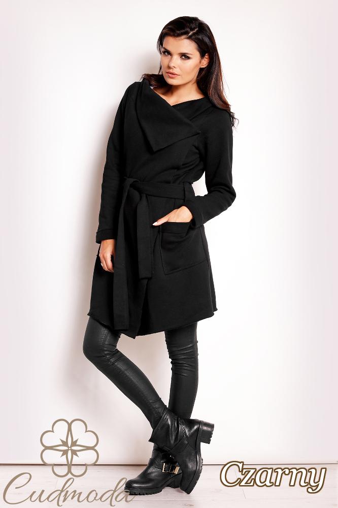 CM2809 Bawełniany przewiązany płaszcz damski - czarny