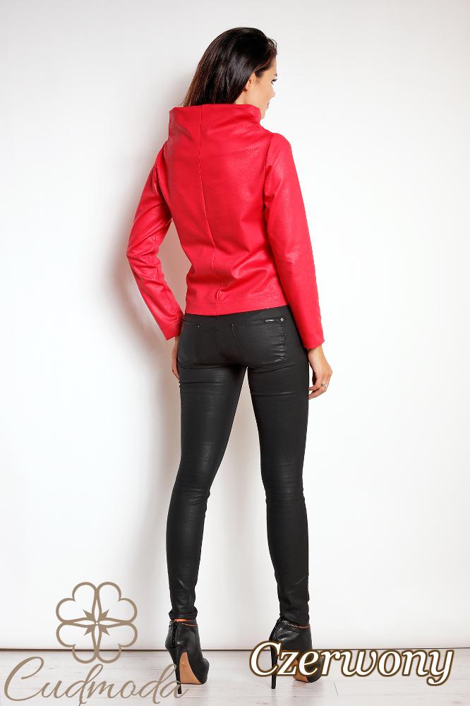CM2810 Nowoczesna bluza z kołnierzem - czerwona