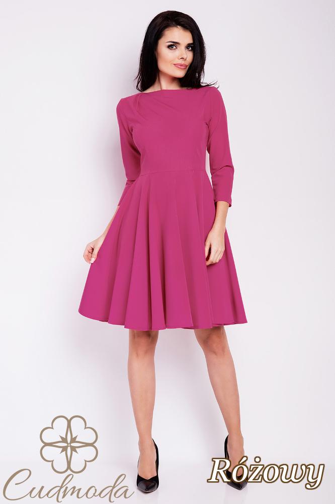 CM2813 Rozkloszowana sukienka wieczorowa - różowa