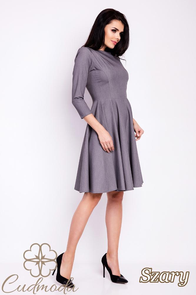 CM2813 Rozkloszowana sukienka wieczorowa - szara