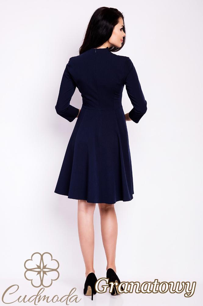CM2814 Rozkloszowana sukienka biurowa - granatowa