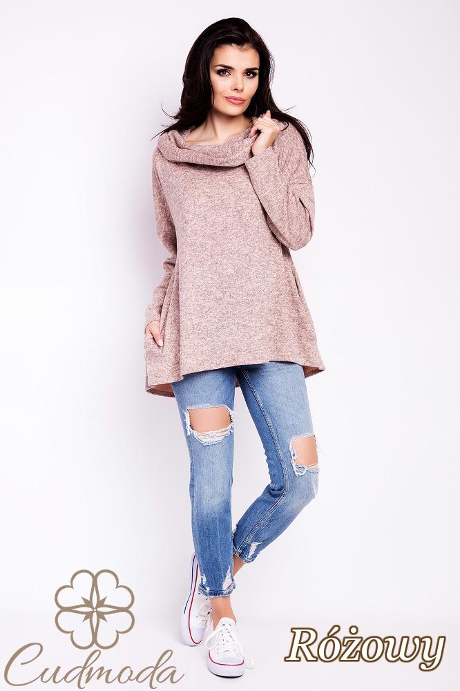 CM2816 Elegancka bluza damska z kapturem - różowa