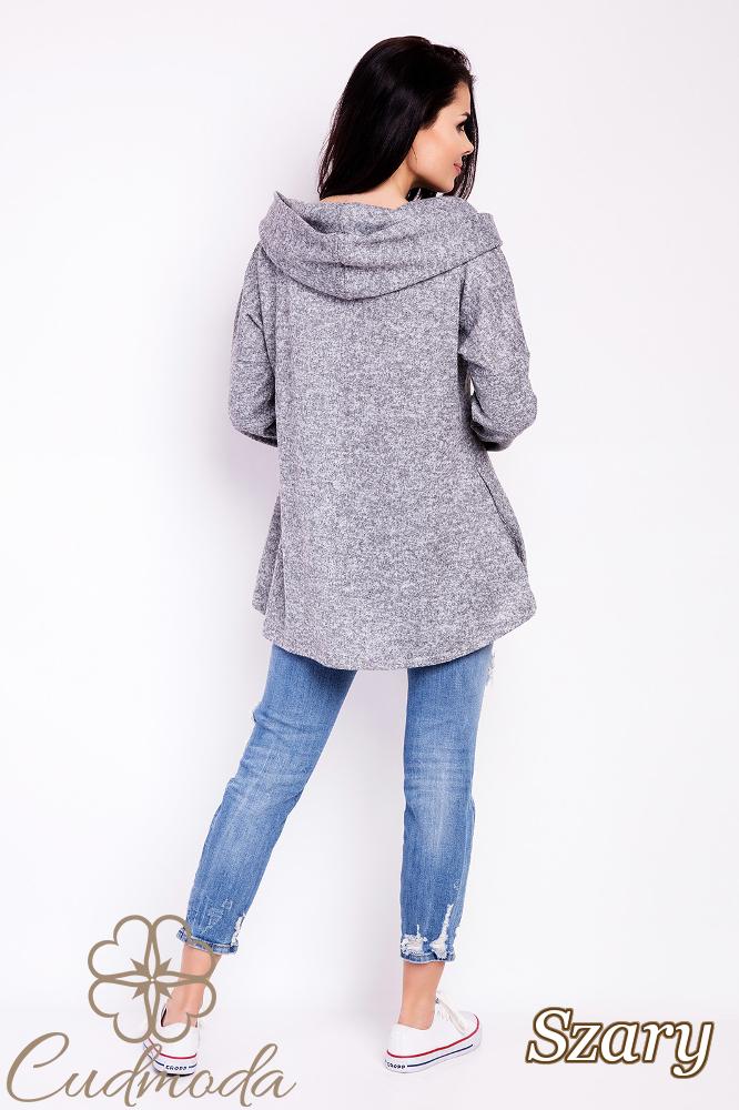 CM2816 Elegancka bluza damska z kapturem - szara