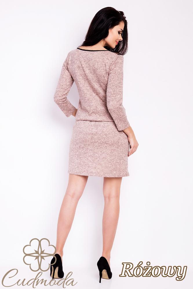CM2817 Ołówkowa sukienka z koronkową górą - różowa