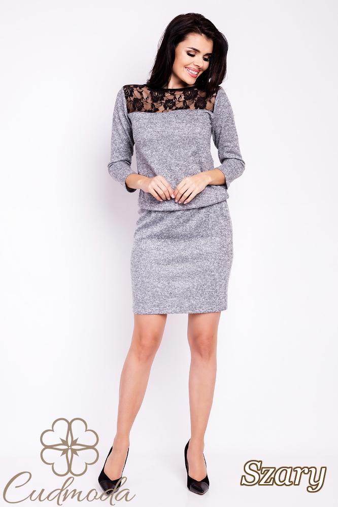 CM2817 Ołówkowa sukienka z koronkową górą - szara