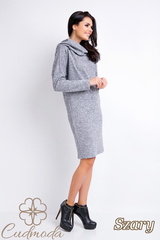 CM2822 Dzianinowa sukienka sportowa z kapturem - szara