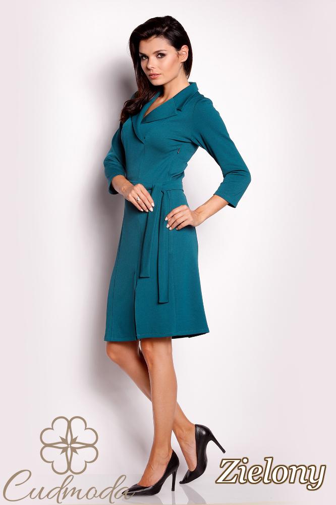 CM2823 Przewiązana sukienka z wykładanym kołnierzem - zielona