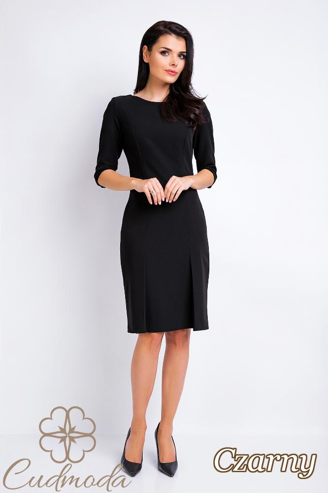 CM2828 Biurowa sukienka ołówkowa kontrafałda - czarna