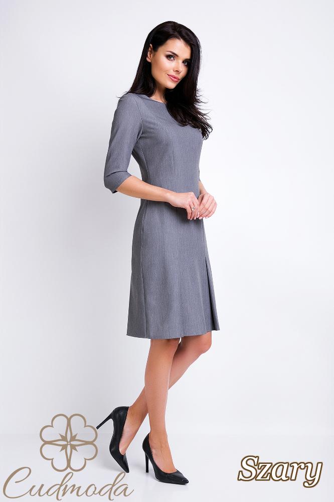 CM2828 Biurowa sukienka ołówkowa kontrafałda - szara