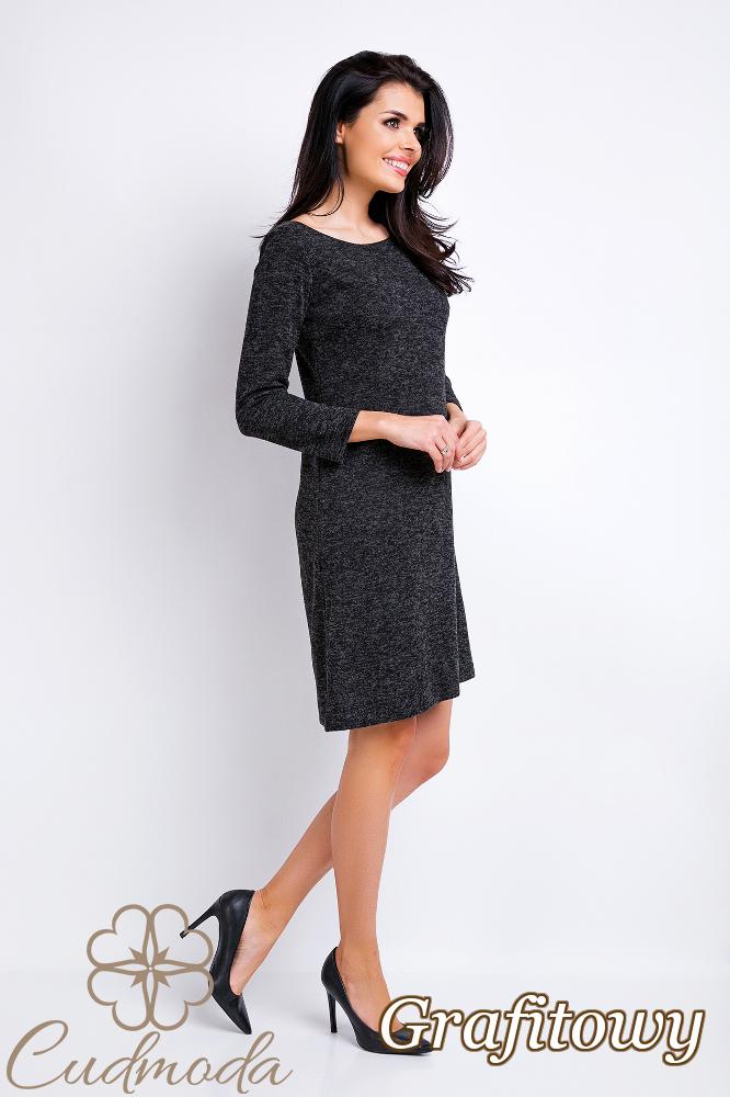 CM2830 Prosta trapezowa sukienka - grafitowa