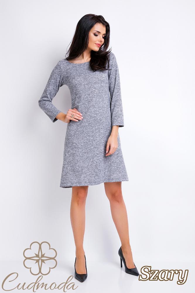 CM2830 Prosta trapezowa sukienka - szara