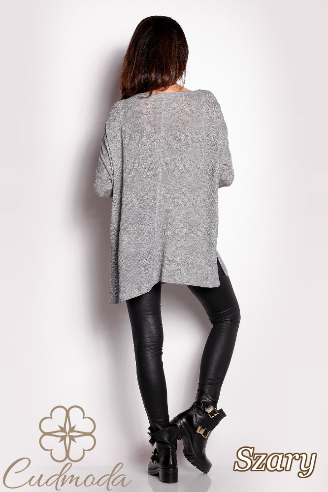 CM2831 Luźny uniwersalny sweter damski - szary