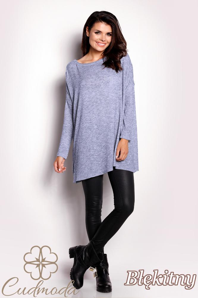 CM2831 Luźny uniwersalny sweter damski - błękitny
