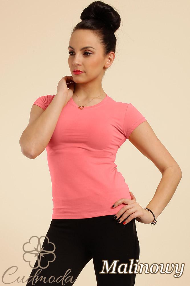 CM0012 Gładka bluzka damska z krótkim rękawem - malinowa
