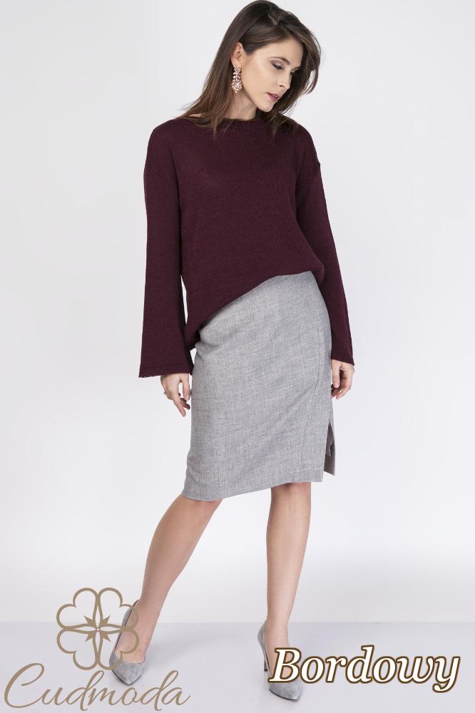 CM2887 Stylowy kobiecy sweter - bordowy