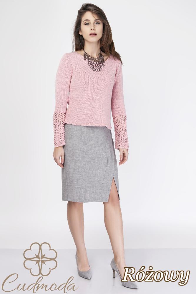 CM2888 Gładki elegancki sweter damski - różowy