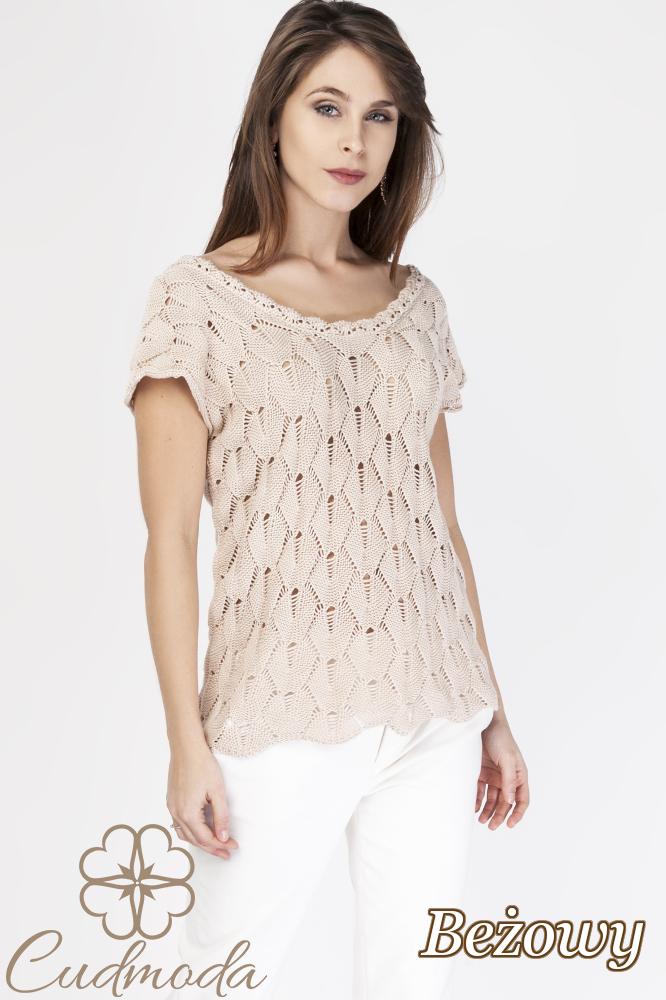 CM2889 Ażurowa bluzka damska z krótkim rękawem - beżowa