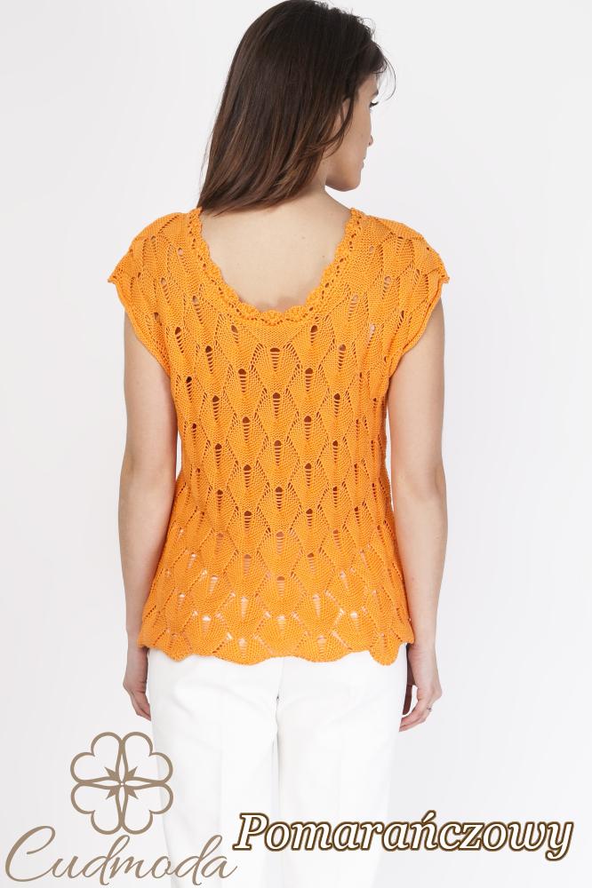 CM2889 Ażurowa bluzka damska z krótkim rękawem - pomarańczowa