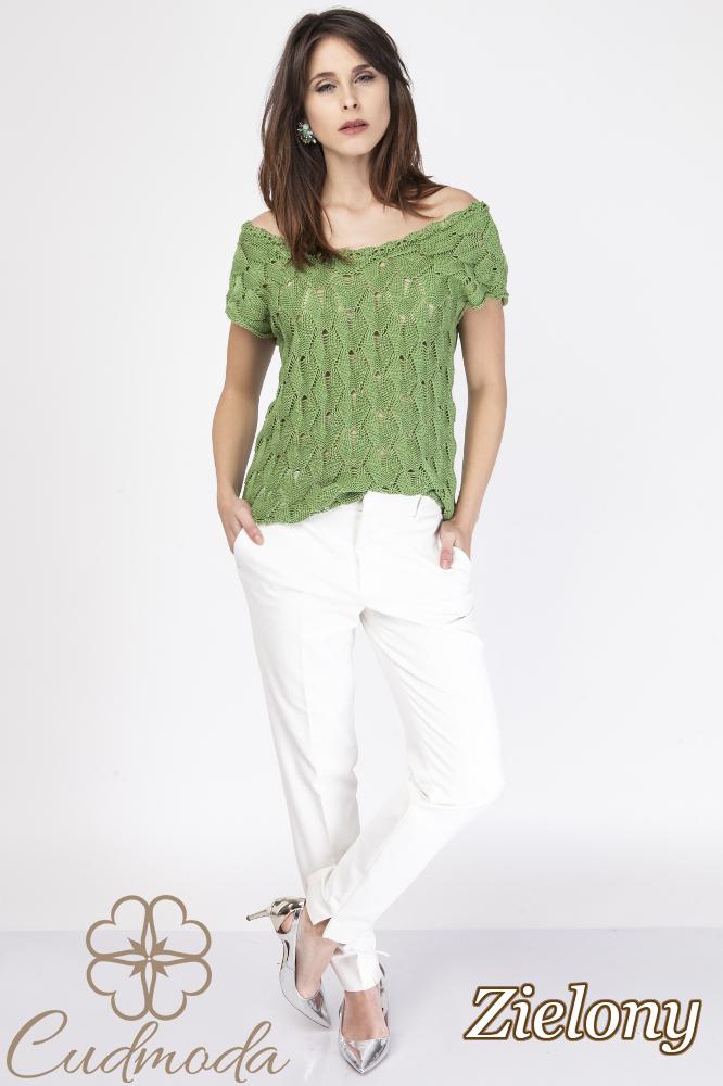 CM2889 Ażurowa bluzka damska z krótkim rękawem - zielona