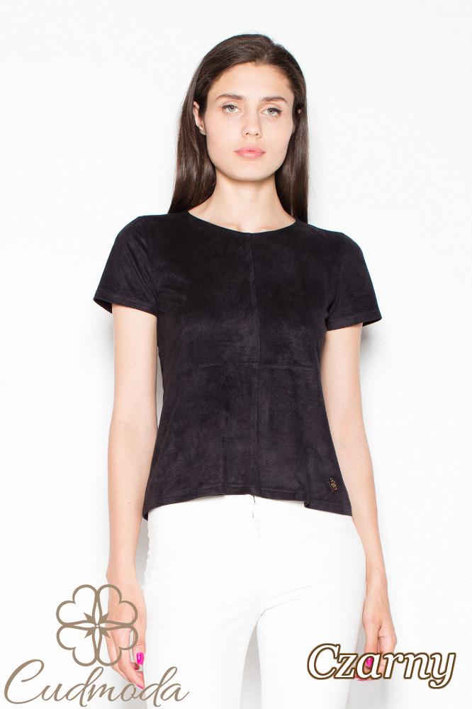 CM2913 Klasyczna bluzka zamszowa - czarna