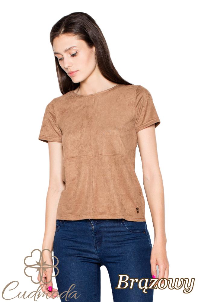 CM2913 Klasyczna bluzka zamszowa - brązowa