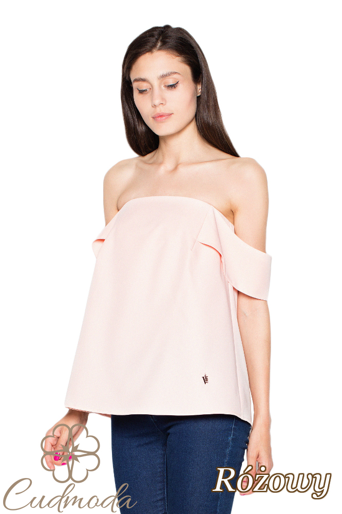 CM2915 Kobieca bluzka z opadającymi rękawami - różowa