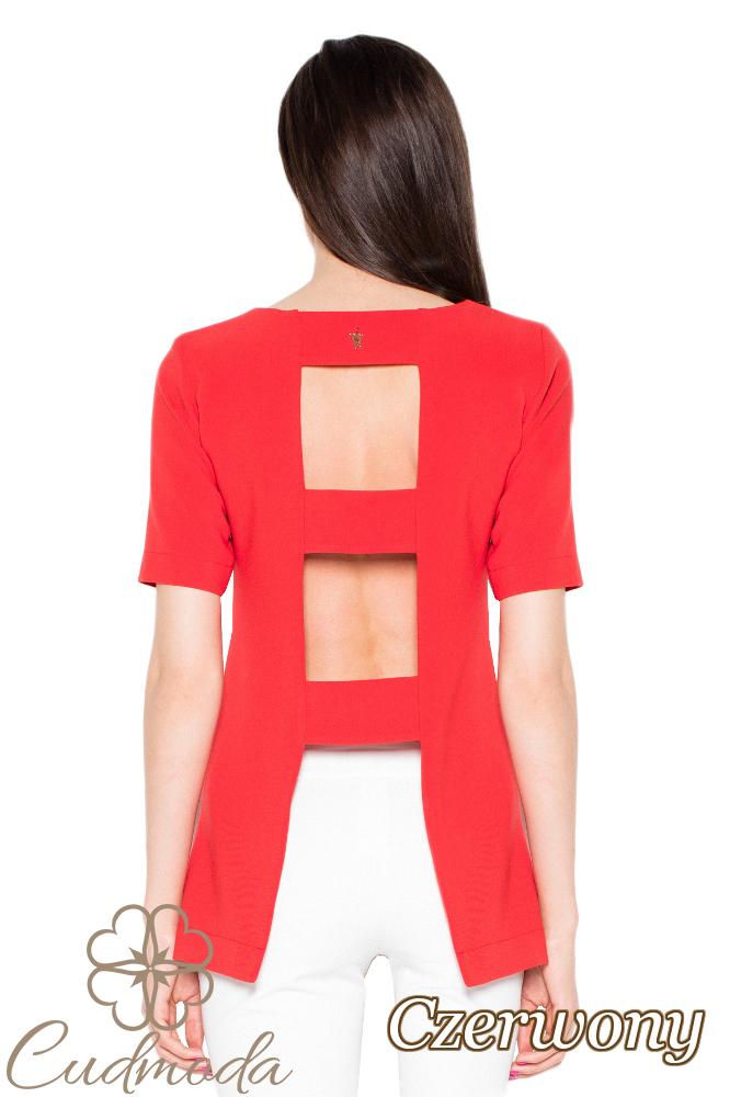 CM2916 Bluzka damska z krótkim rękawem - czerwona