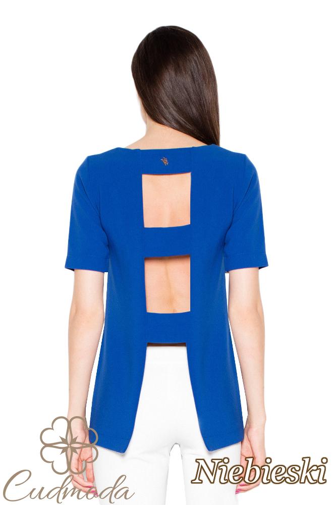 CM2916 Bluzka damska z krótkim rękawem - niebieska