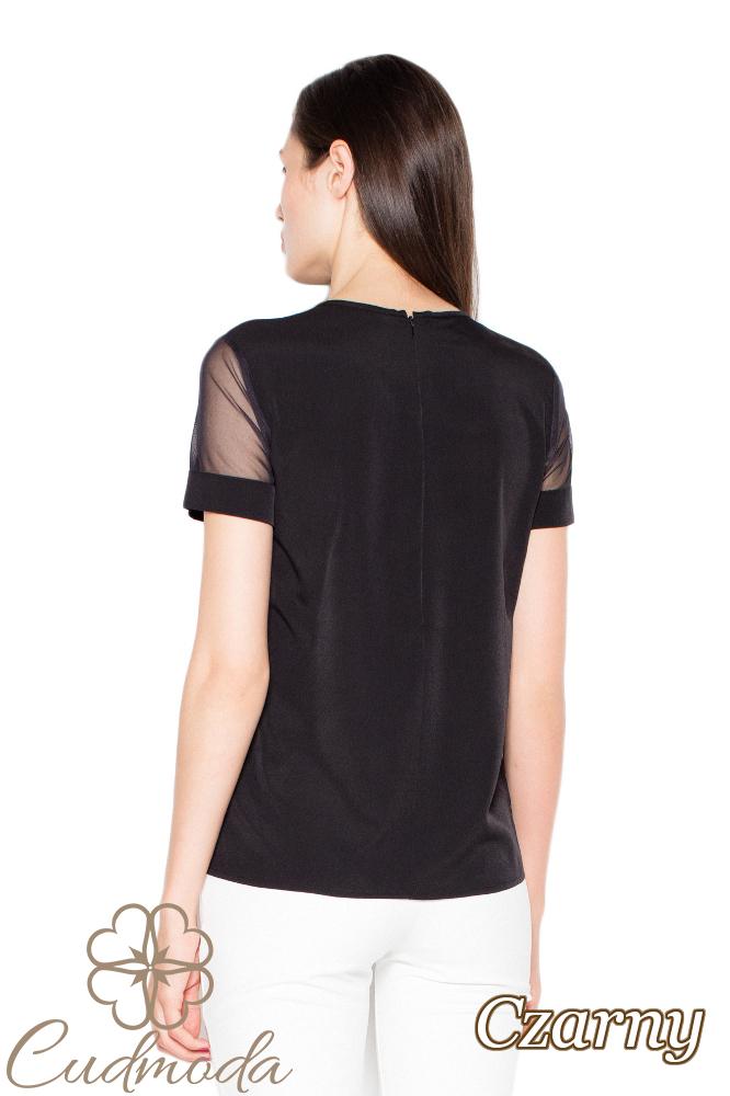 CM2917 Gustowna bluzka z szyfonowymi wstawkami - czarna