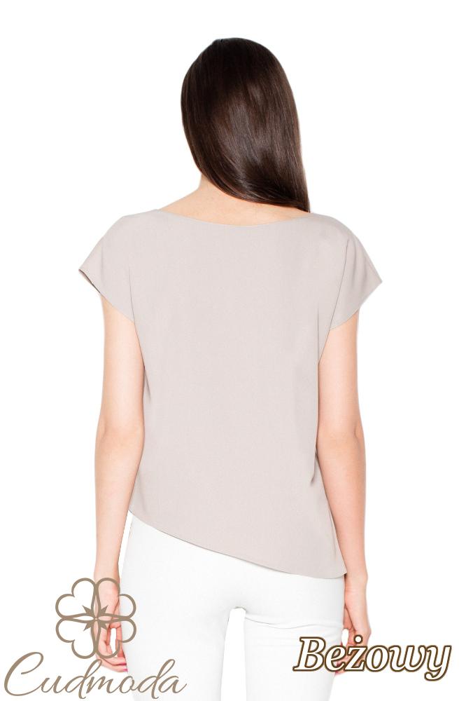 CM2918 Asymetryczna bluzka o luźnym kroju - beżowa