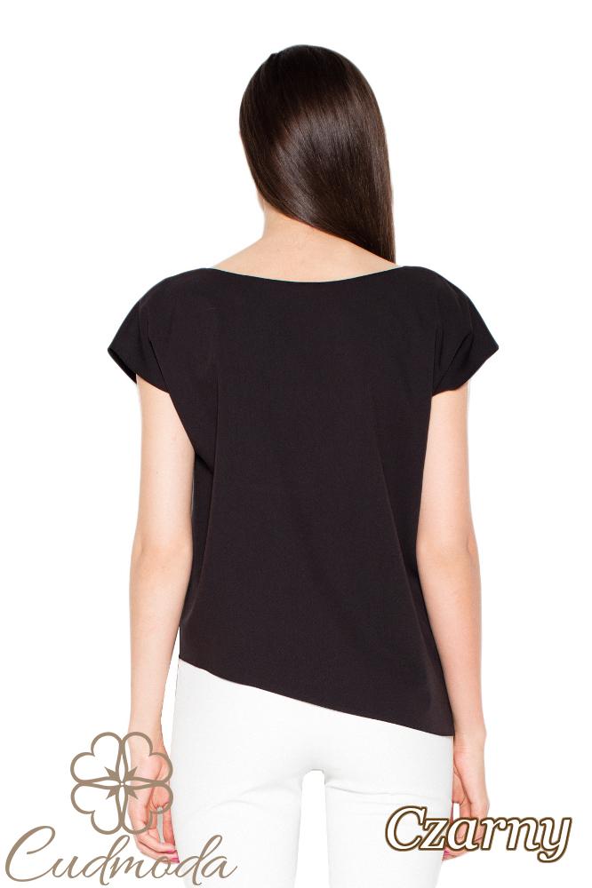CM2918 Asymetryczna bluzka o luźnym kroju - czarna
