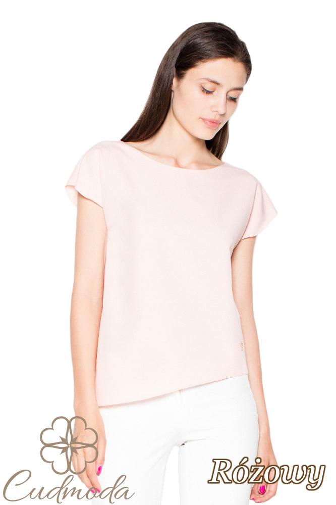 CM2918 Asymetryczna bluzka o luźnym kroju - różowa