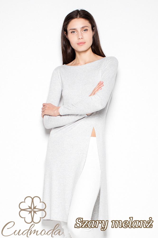 CM2919 Stylowa bluzka z długim rękawem - szary-melanż
