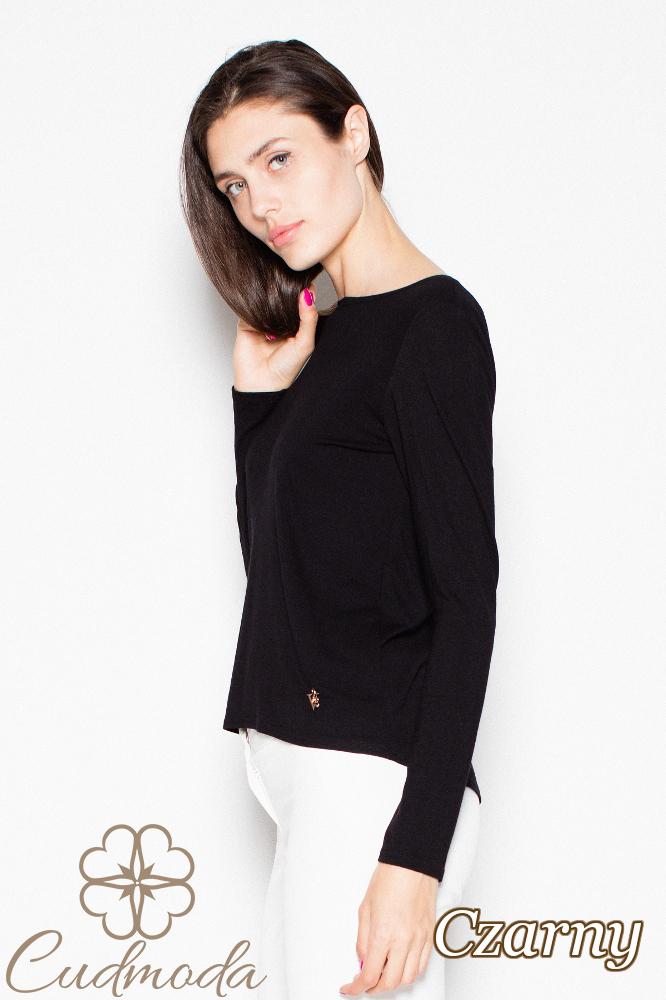 CM3000 Elegancka bluzka z ozdobną kokardą - czarna