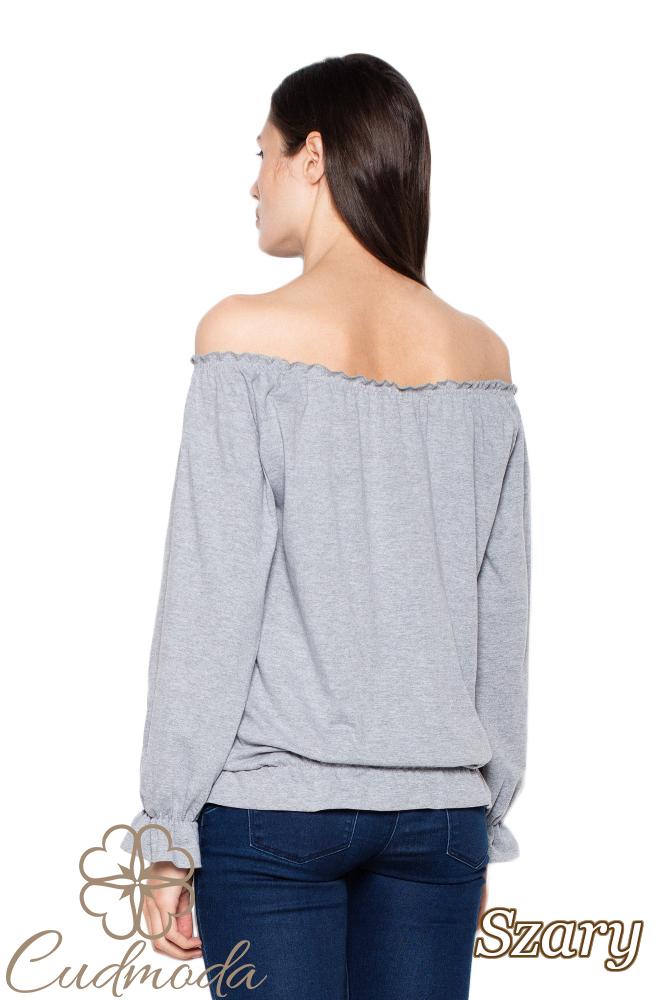 CM3002 Bluzka damska z długim rękawem - szara